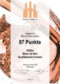 <?=87 Punkte bei Meininger Kategorie V Blanc de Noir trocken?>