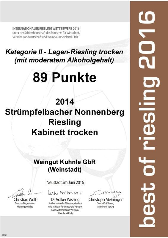 """<?=89 Punkte bei """"best of riesling 2016""""?>"""