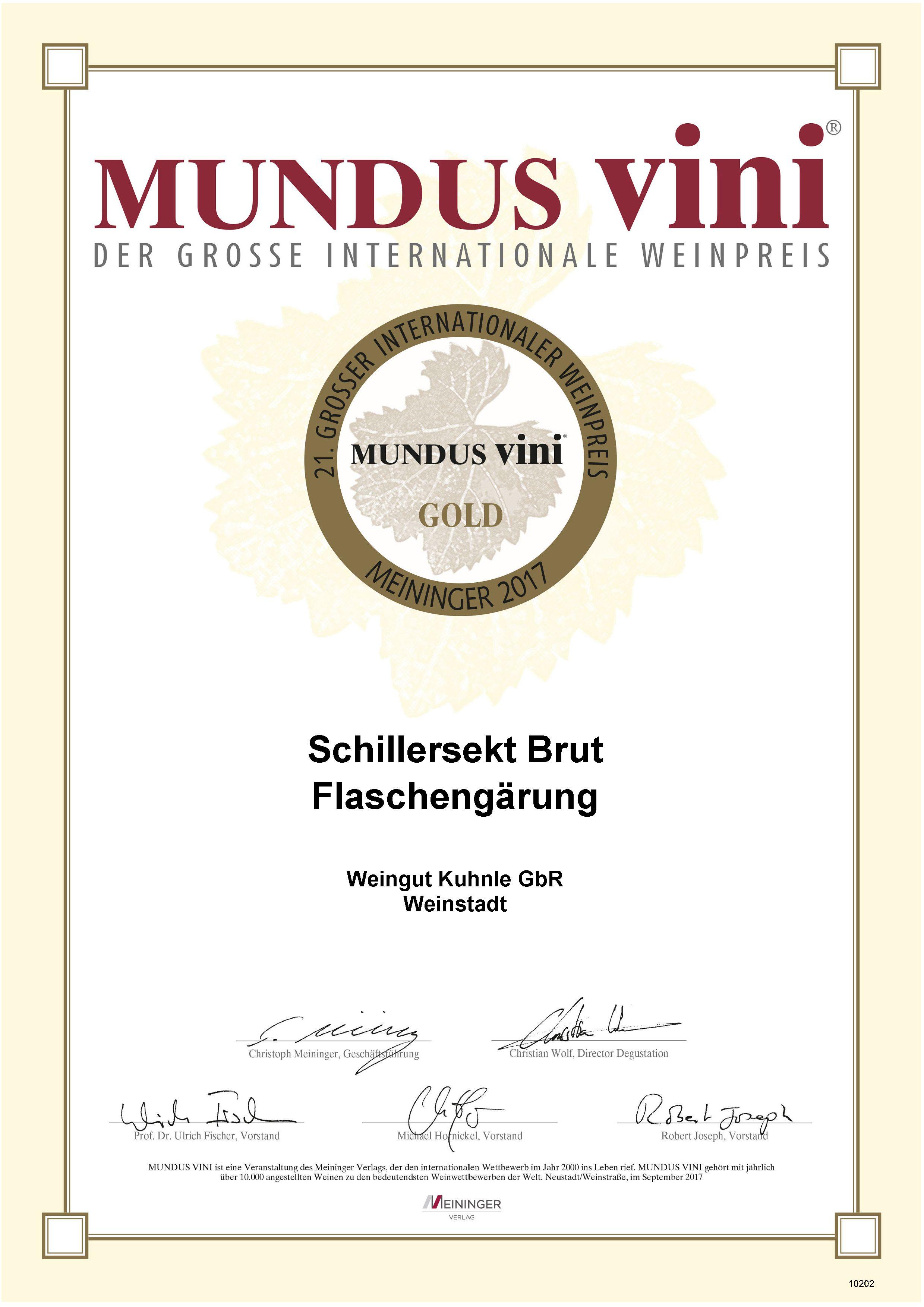 <?=Goldmedaille bei Mundus Vini 2017?>