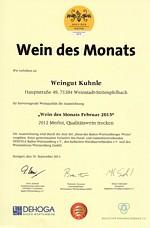 "<?=2012er Merlot Qualitätswein trocken - ""Wein des Monats Februar 2015"" ?>"