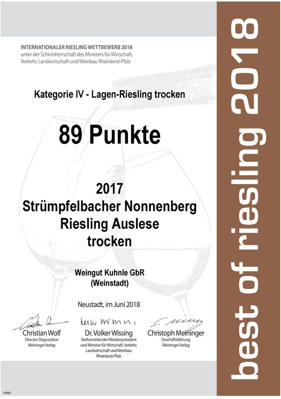 """<?=89 Punkte bei """"best of riesling 2018""""?>"""
