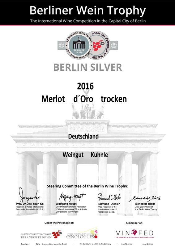 <?=Silbermedaille bei der Berliner Wein Trophy 2018?>