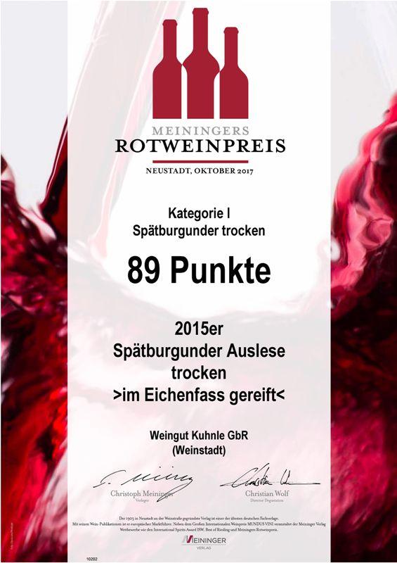 <?=89 Punkte beim Meininger Rotweinpreis?>