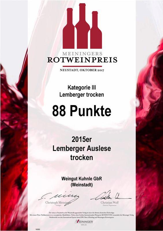 <?=88 Punkte beim Meininger Rotweinpreis?>