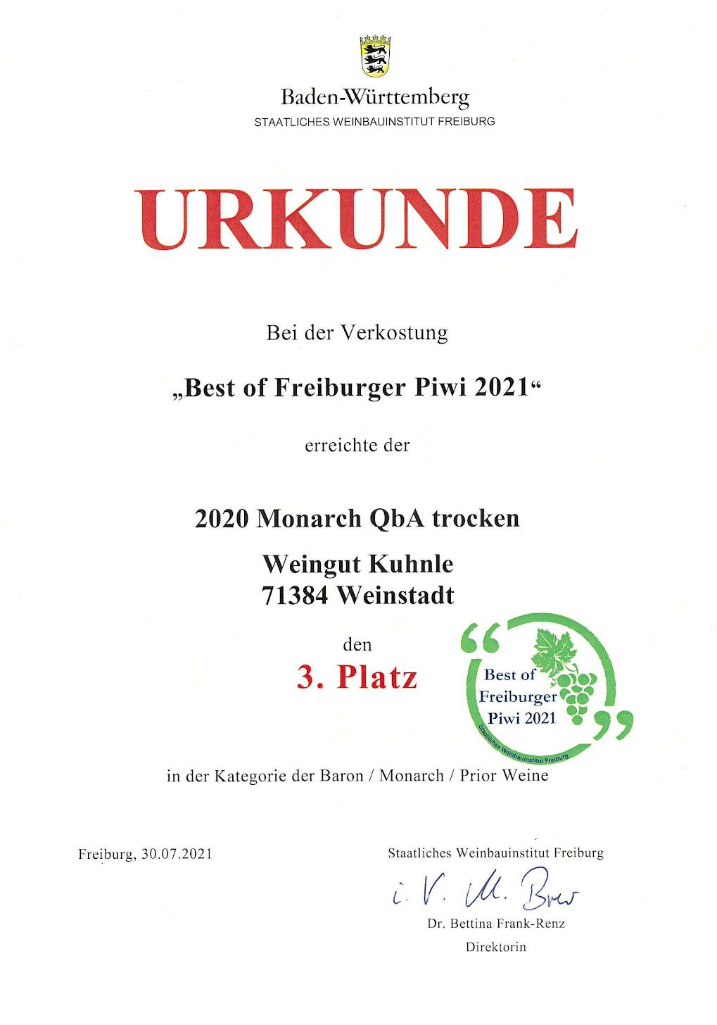 "<?=3. Platz bei ""Best of Freiburger Piwi 2021""?>"
