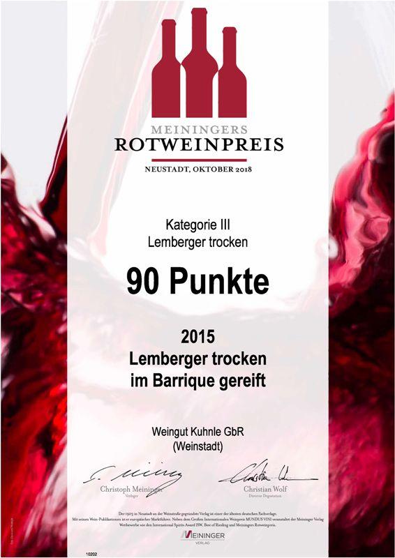<?=90 Punkte beim Meininger Rotweinpreis?>