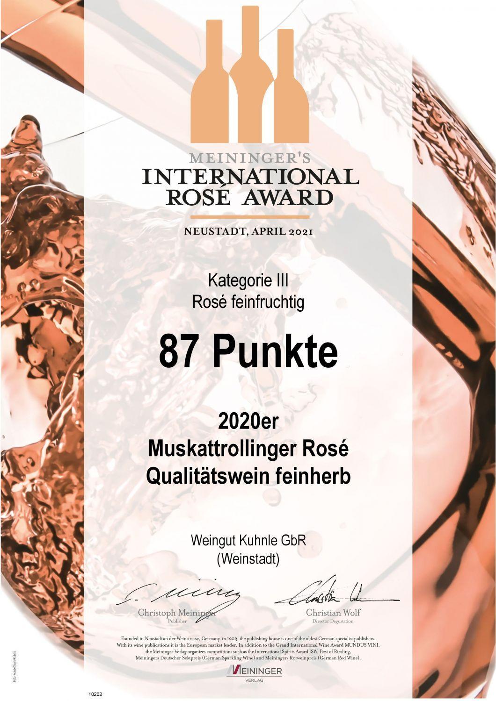 "<?=87 Punkte bei ""Meininger's International Rosé Award""?>"