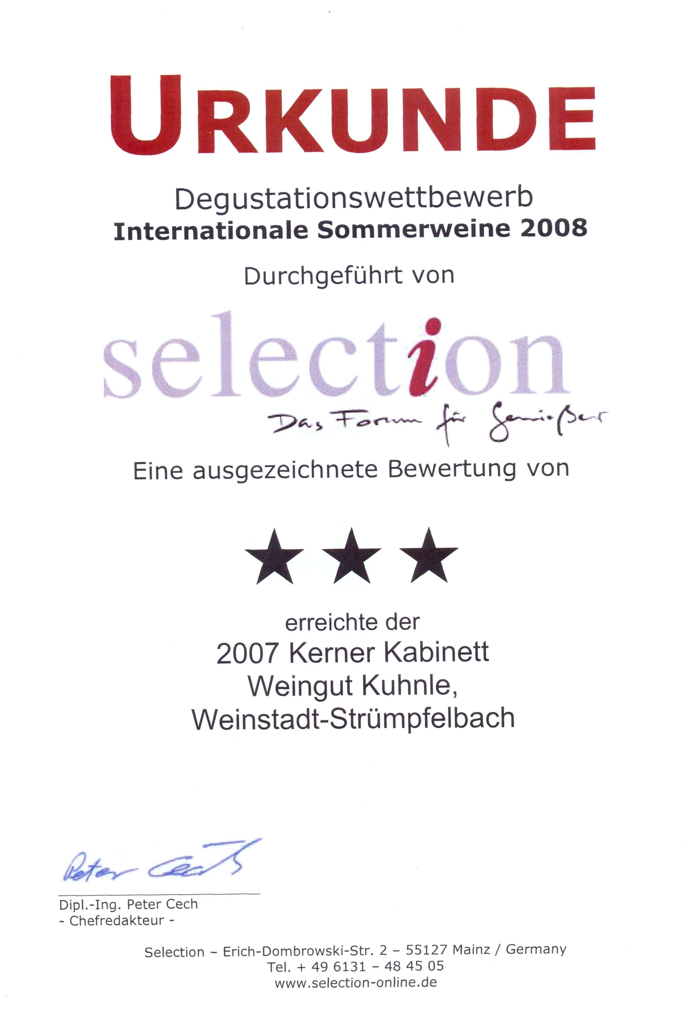 <?=Internationale Sommerweine 2008?>