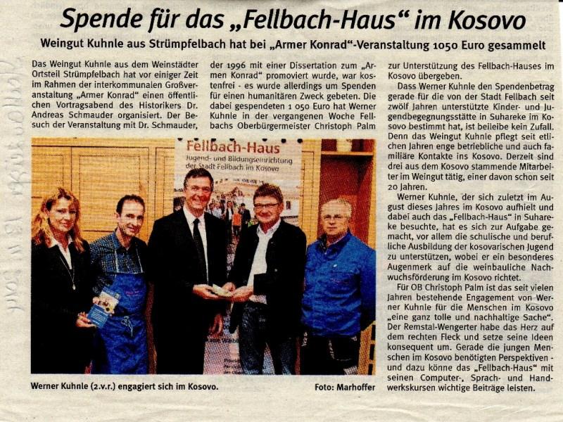 """<?=Spende für das """"Fellbach-Haus"""" im Kosovo?>"""