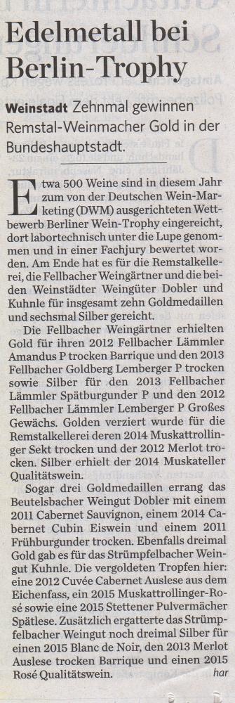 <?=Edelmetall bei Berlin-Trophy?>