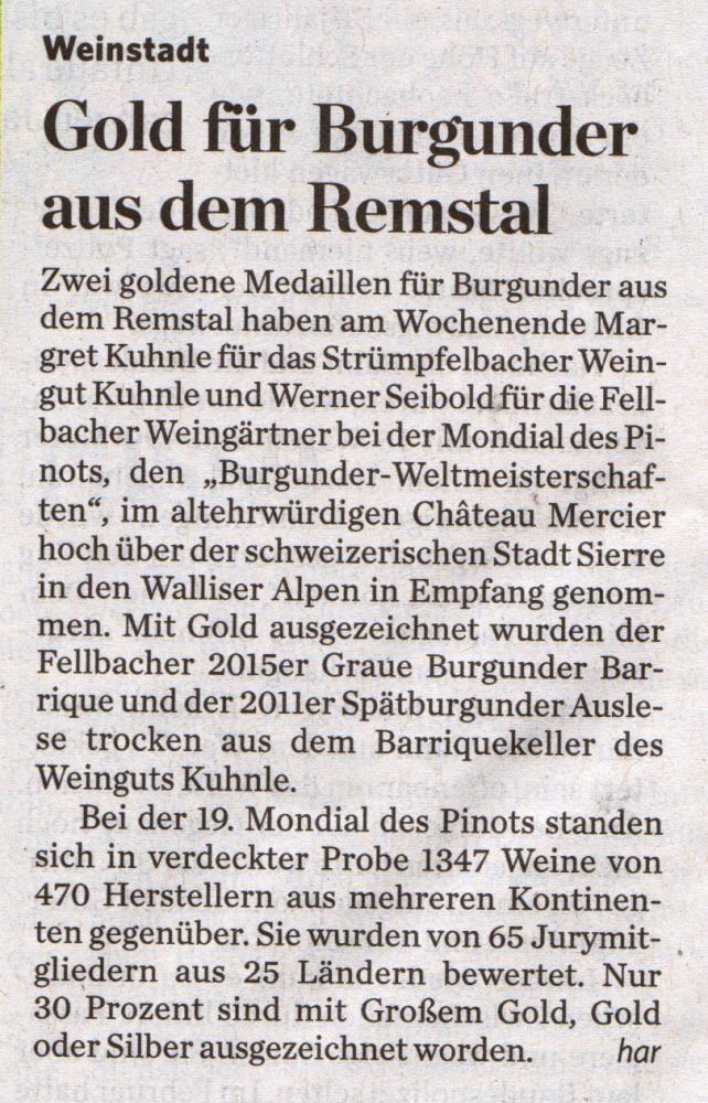 <?=Gold für Burgunder aus dem Remstal?>