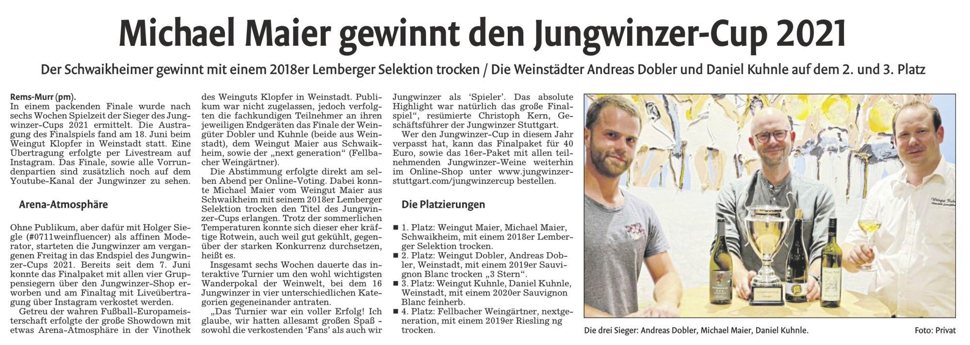 <?=Michael Maier gewinnt den Jungwinzer Cup 2021?>