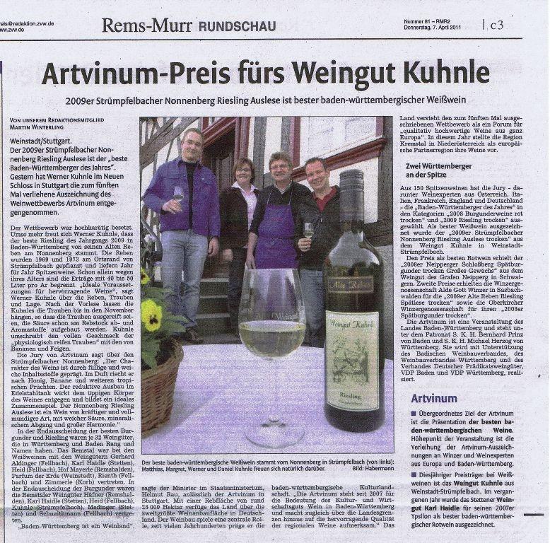 <?=Artvinum-Preis fürs Weingut Kuhnle?>