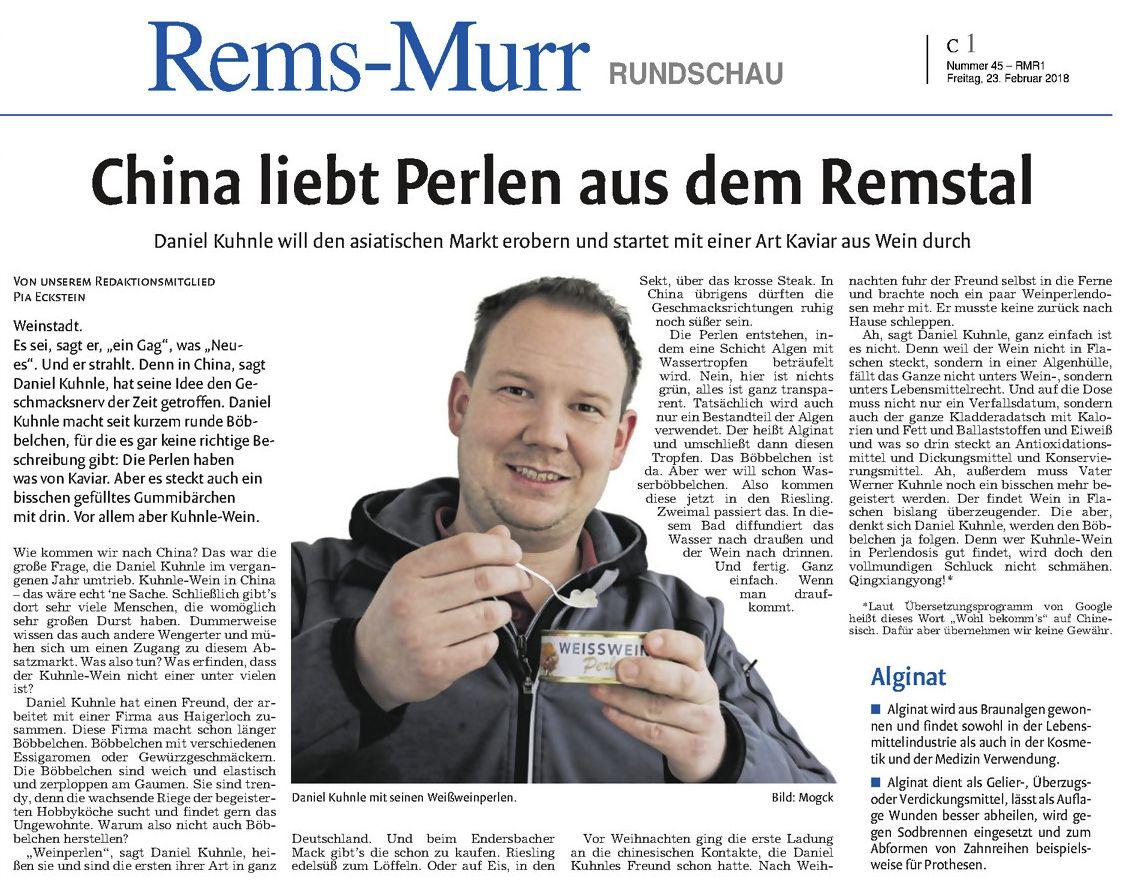 <?=China liebt Perlen aus dem Remstal?>