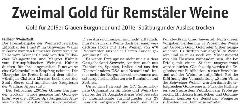 <?=Zweimal Gold für Remstäler Weine?>